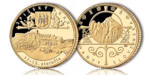 Zobrazenie Spišského hradu na zlatej medaile