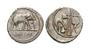 18 mm strieborný denár z 49- 48 stor. p ř.n. l. Slon značí cisárovu silu.