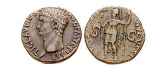 Rímska minca s cisárom Claudiom