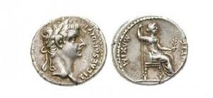Rímska mince z čias cisára Tiberia